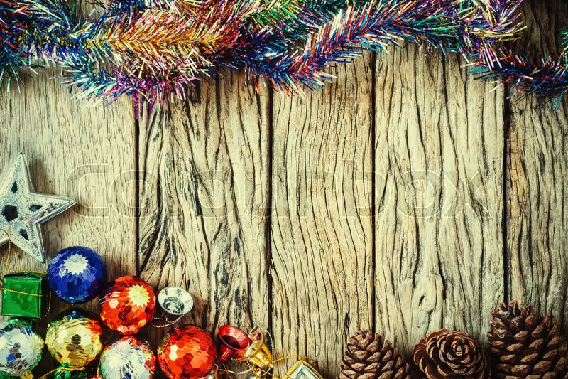 Christmas border. Decoration on wood with vintage filtered. Christmas eve background, stock photo