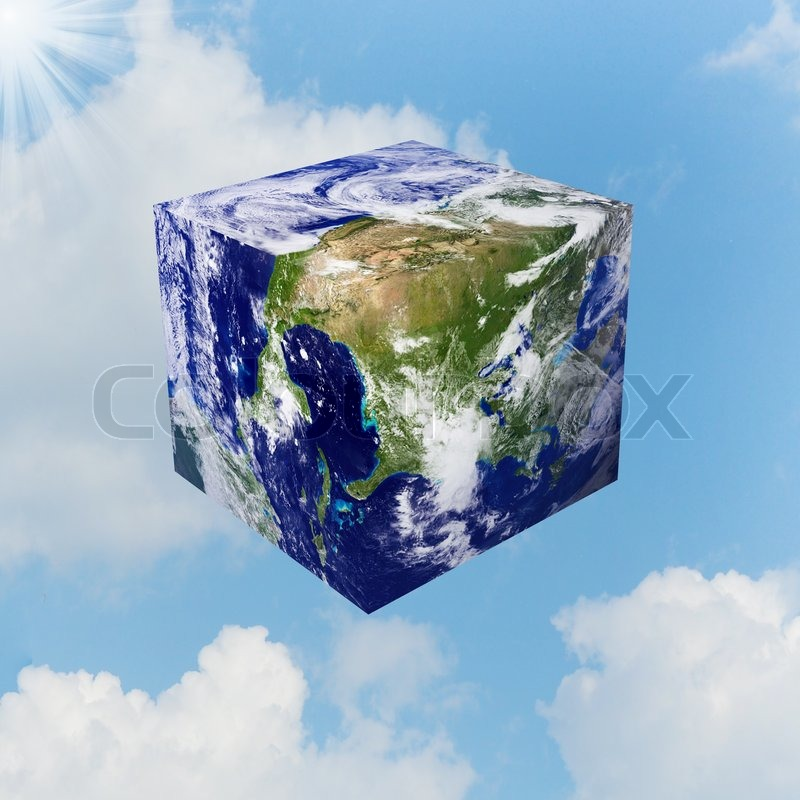 image of the earth square globe on white background