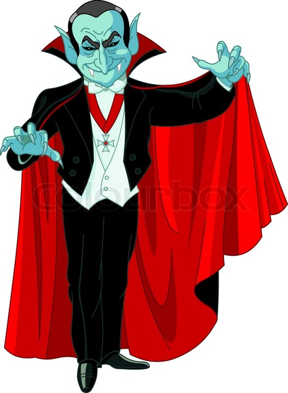 Cartoon Count Dracula posing with his swirling cape ... Vampire Cape Clipart