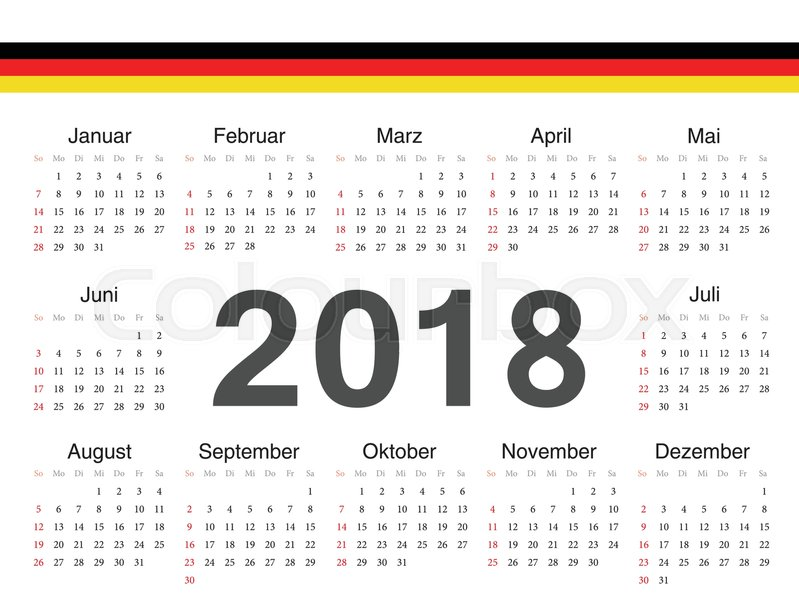 vector german circle calendar 2018 week starts from sunday stock vector colourbox