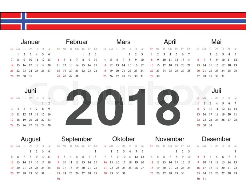 Calendar Norway : Vector norwegian circle calendar week starts from