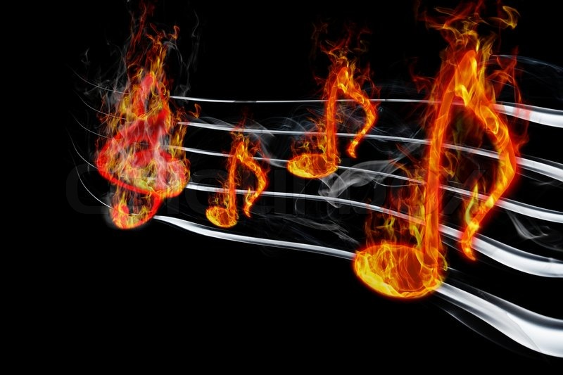 Fiery Treble Clef In Rainbow Flames: Image Of Burning Music On A Black Background