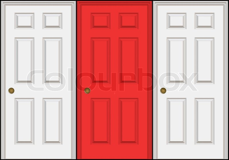 Three doors or doorways with the middle one a different color than the other twoA great concept for decision making Isolated over black | Stock Photo | ...  sc 1 st  Colourbox : three doors - pezcame.com
