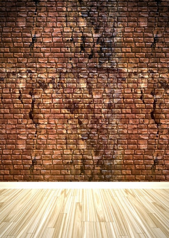 A Grungy Brick Wall Interior Background With Wood Parquet Flooring Stock Photo Colourbox