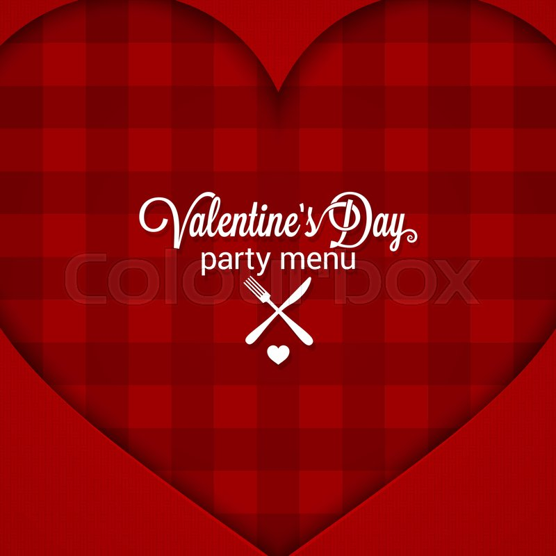 Valentines Day Dinner Party Menu Background 10 Eps Stock Vector