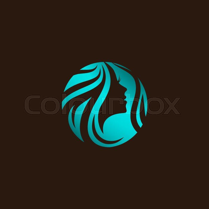 woman beauty hair salon logo design at dark background stock