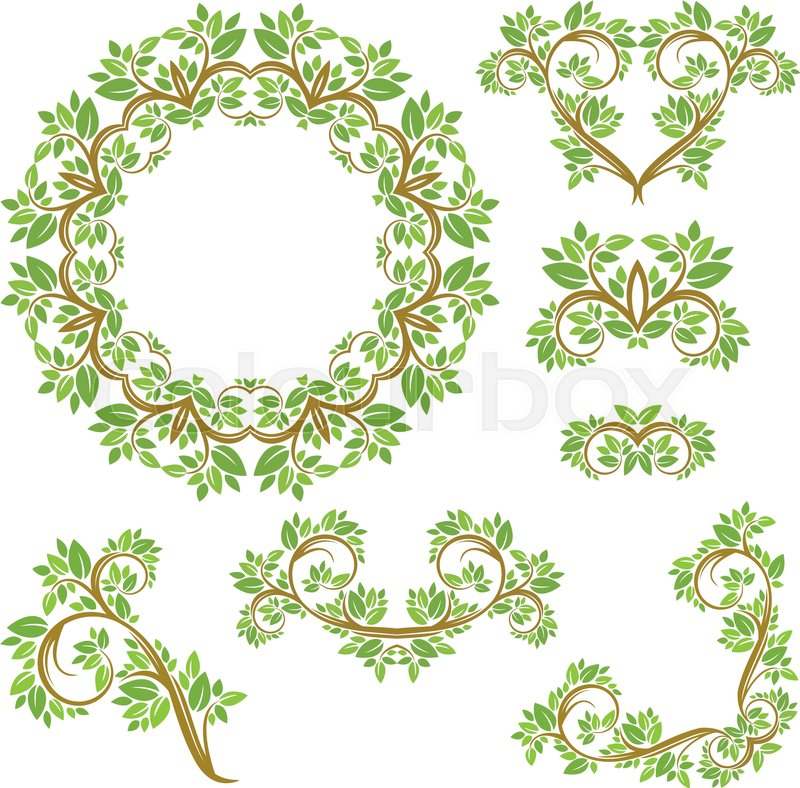 Set of Floral seamless detailed ornaments, borders, frames ...