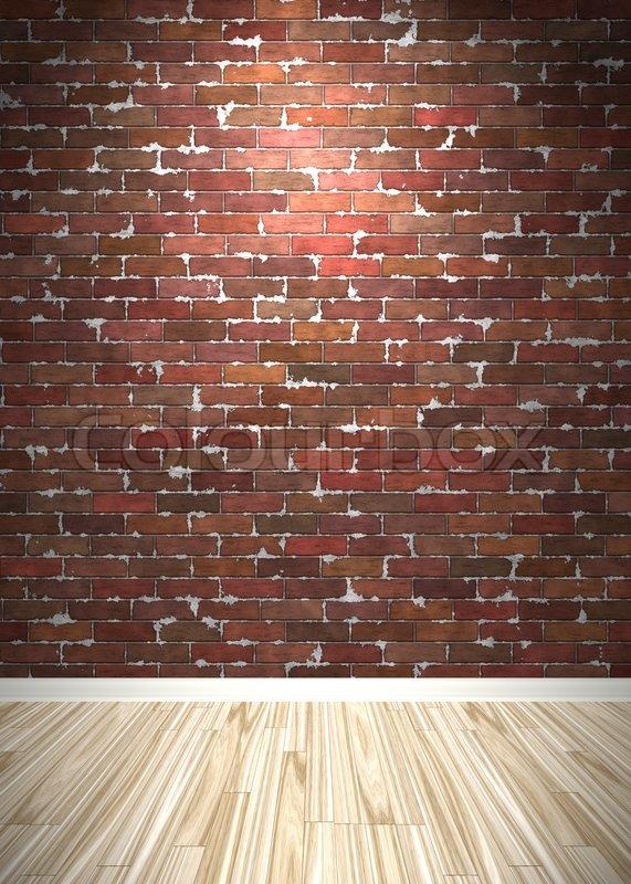 brick wall interior background with wood parquet flooring stock photo colourbox