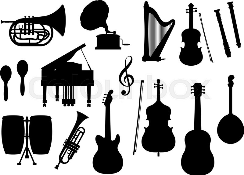 silhouette of musical instruments vector isolated icons piano clip art free black and white piano clipart free download