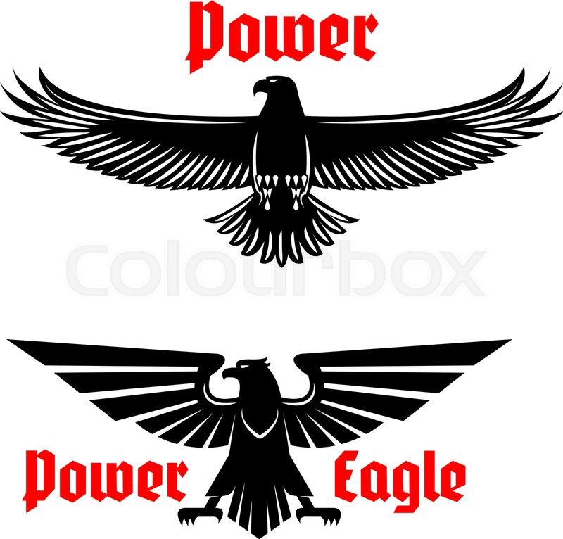 Black Eagle Vector Icons Set Emblem Heraldic Symbol Of Power With