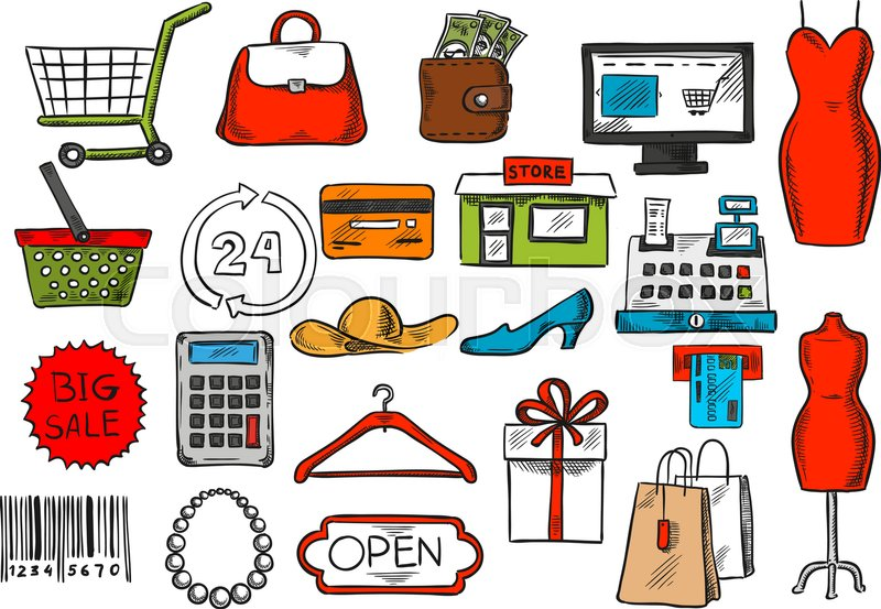 shopping icons set vector isolated retail and purchase ATM Icon ATM Icon