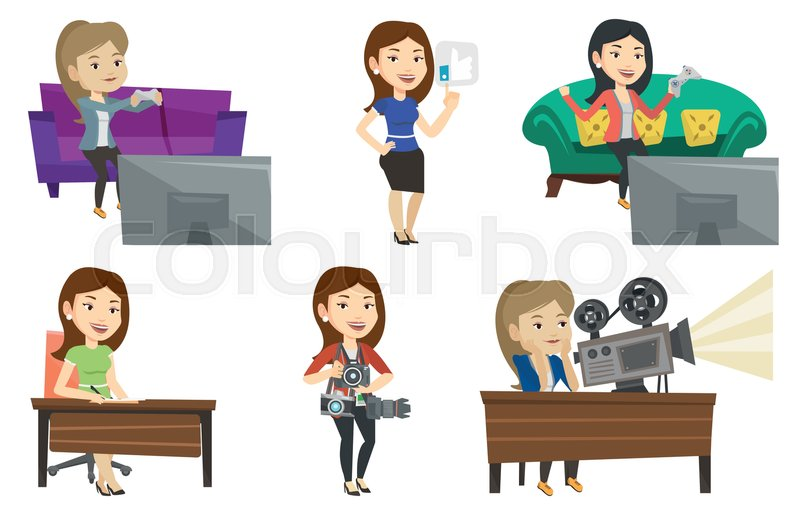 Happy Woman Playing Video Game An Stock Vector Colourbox
