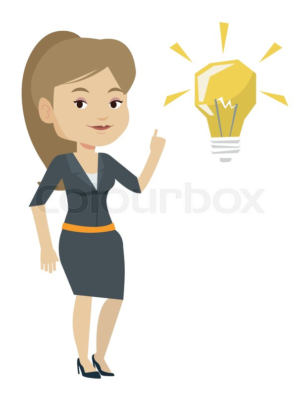 Caucasian Student Pointing Her Finger Up At The Idea Bulb Young Excited Female With Bright Having A Great