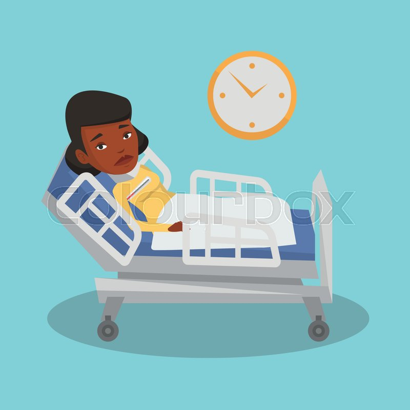 Sick Black Woman In Hospital Bed