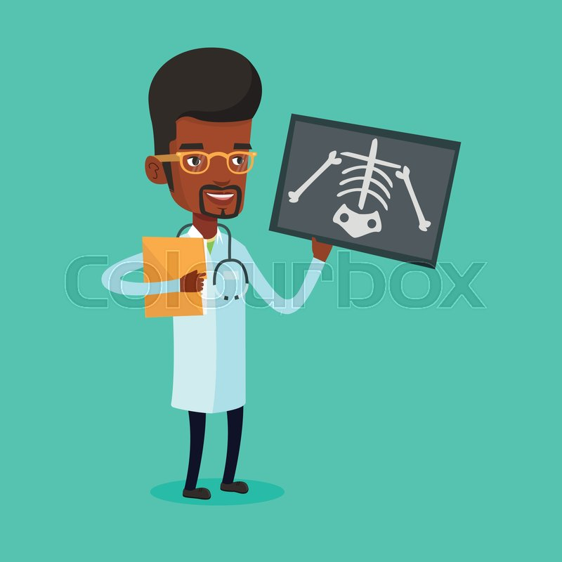 African-american male doctor examining a radiograph. Young smiling doctor looking at a chest radiograph. Male doctor observing a skeleton radiograph. Vector flat design illustration. Square layout, vector