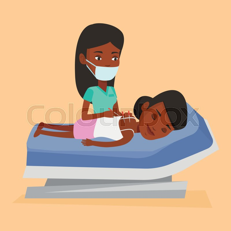 African-american woman getting acupuncture treatment in a spa center. Acupuncturist doctor performing acupuncture therapy on back of a customer at salon. Vector flat design illustration. Square layout, vector
