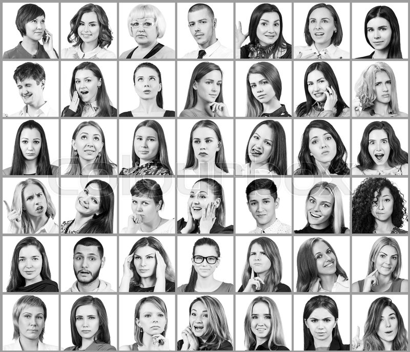 Portrait collage of many smiling faces over white background stock photo colourbox