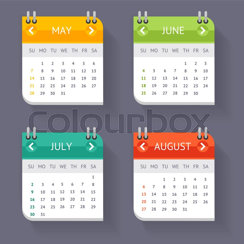 Calendar Quarter Month Current Year Set Template Office Accessory