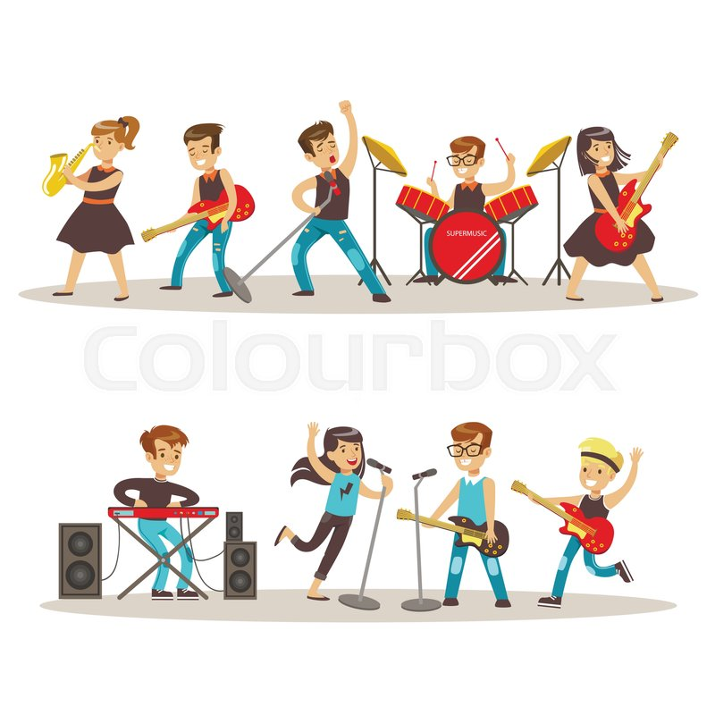 children musicians performing on stage on talent show Guitar Clip Art Free Marching Band Clip Art Free