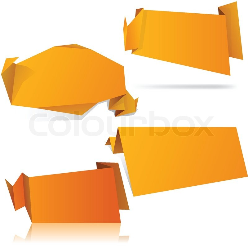 High Detailed Paper Origami Label Vector Eps8