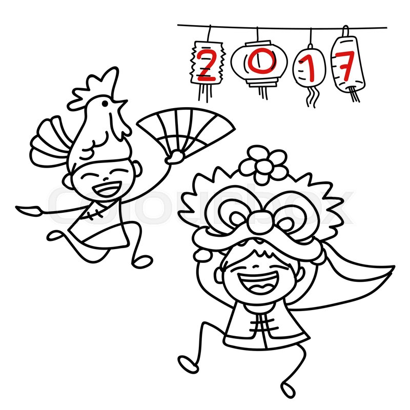 Line Art Year : Hand drawing cartoon character happy chinese people and