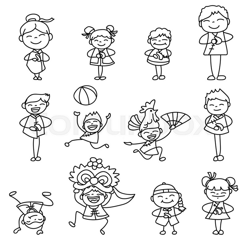Set Of Hand Drawing Cartoon Character Chinese People And Kids Happy New Year Moon Lunar Concept Line Art For Coloring Vector
