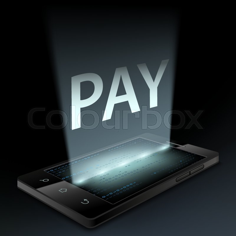 smartphone with the word pay on the screen money transfer