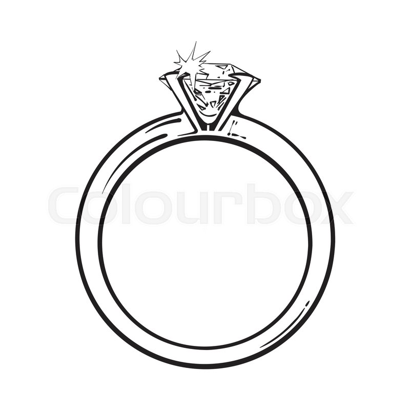 Golden Engagement Ring With A Big Stock Vector Colourbox