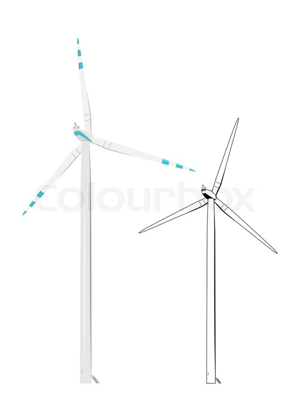 Line Drawing Windmill : Wind turbine renewable electricity production concept