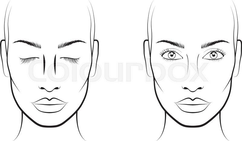Young woman portrait face chart makeup artist blank template