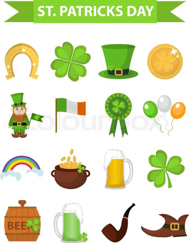 St Patricks Day Icon Set Design Element Traditional Irish Symbols