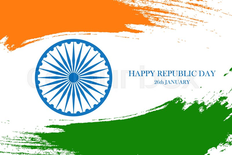 Indian happy republic day greeting card with ashoka wheel and brush indian happy republic day greeting card with ashoka wheel and brush strokes in indian national flag colors vector illustration vector m4hsunfo
