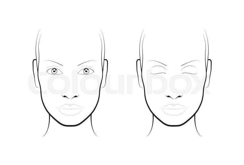 Young woman portrait. Face chart Makeup Artist Blank. Template ...