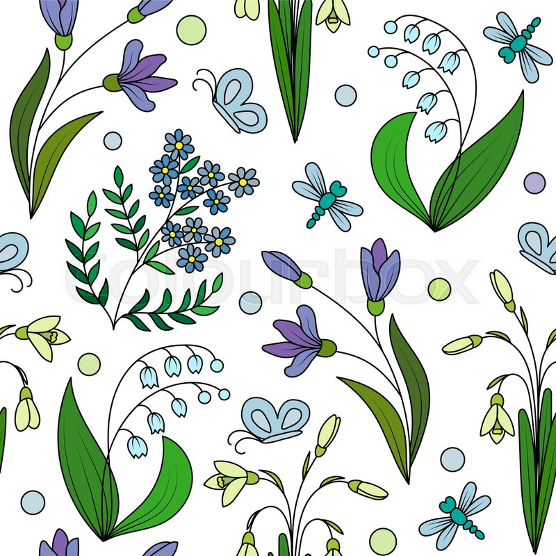 Seamless pattern from hand draw spring flowers wild plants seamless pattern from hand draw spring flowers wild plants background stock vector colourbox mightylinksfo