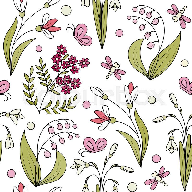 Seamless pattern from hand draw spring flowers wild plants seamless pattern from hand draw spring flowers wild plants background stock vector colourbox mightylinksfo