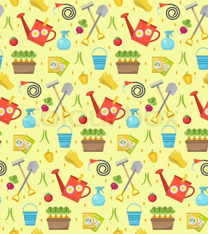Gardening Seamless Pattern With Garden Tools. Spring Endless Backdrop.  Horticulture Texture, Wallpaper. Cute Summer Background. Vector  Illustration, Vector