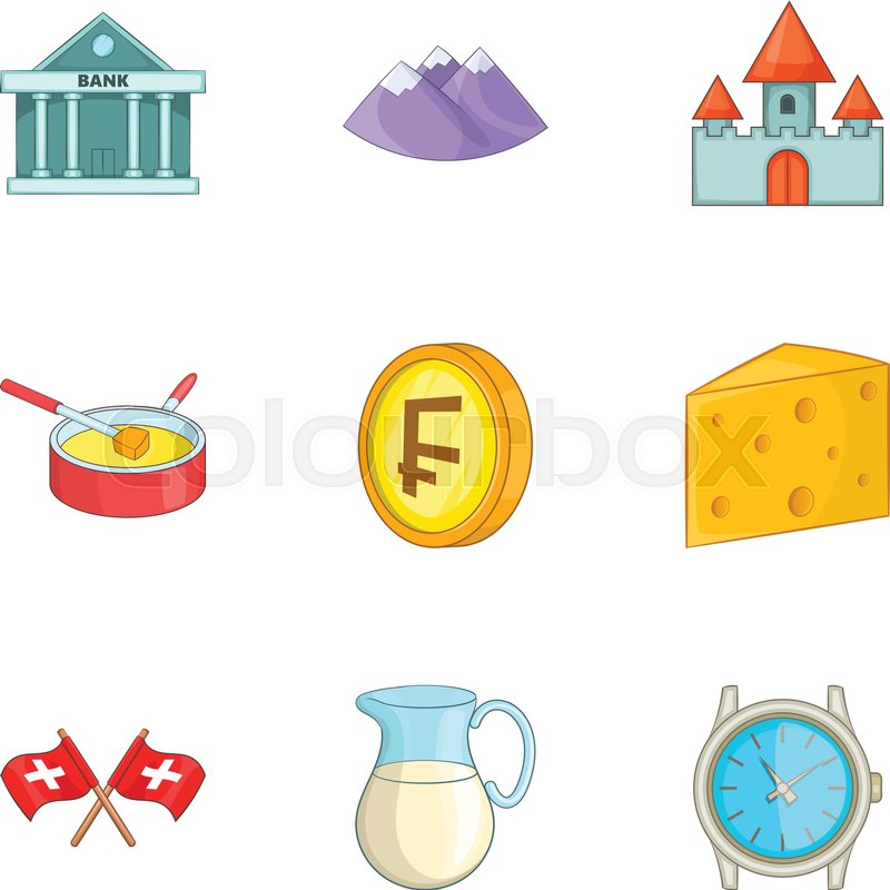 Switzerland National Cultural Symbols Icons Set Cartoon