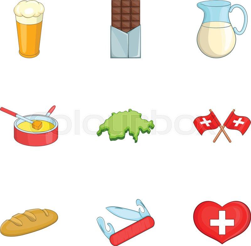 Travel Switzerland Symbols Icons Set Cartoon Illustration Of 9