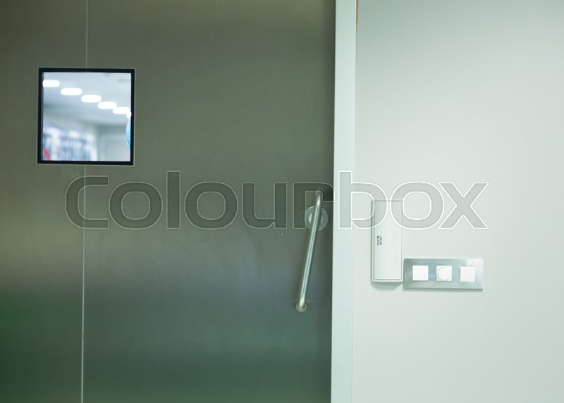 Hospital surgery operating theater emergency room stainless steel door, stock photo