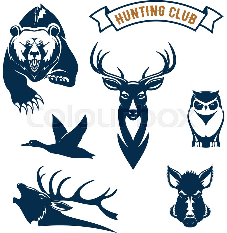 Hunting Club Icons Of Hunt Wild Animals Grizzly Bear Deer Or