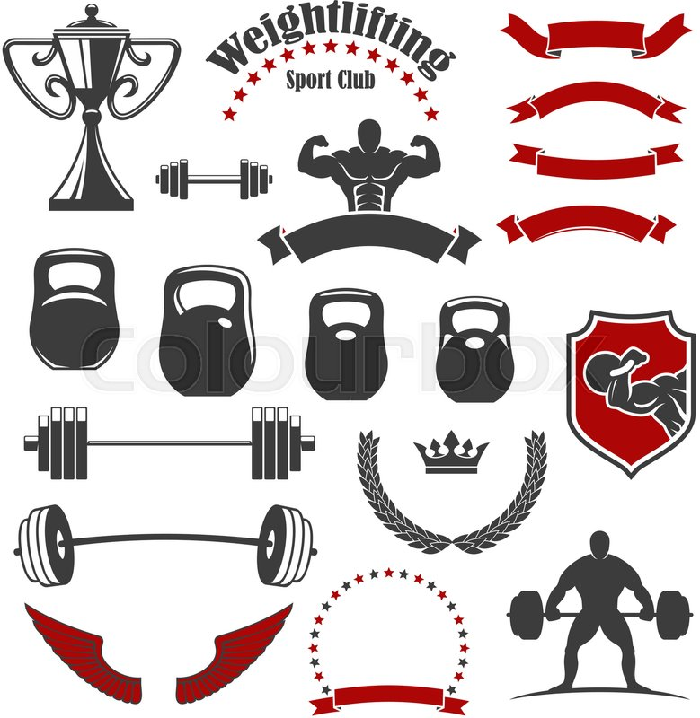 Weightlifting Icons Vector Isolated Weightlifter Athlete Muscle
