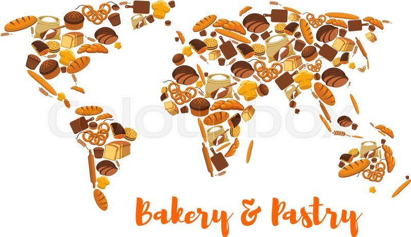 Bread world map bakery and pastry symbol or poster of wheat and rye stock vector of bread world map bakery and pastry symbol or poster of wheat gumiabroncs Choice Image
