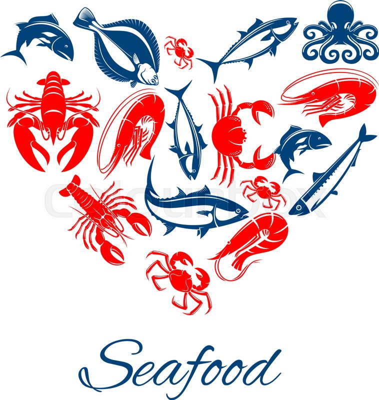 Seafood Vector Poster Designed In Heart Shape Of Sea Food Fish