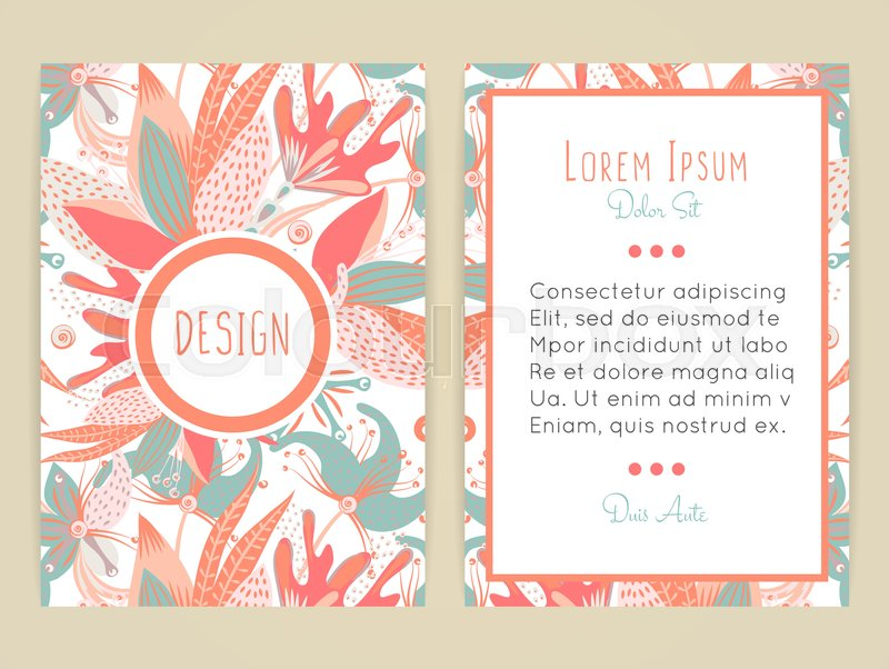 Creative Book Cover Design Vector : Cover design with floral pattern hand drawn creative