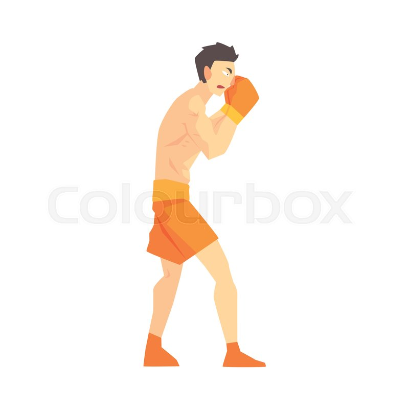 Skinni Man Boxing Martial Arts Fighter, Fighting Sports Professional In Traditional Fighting Sportive Clothing. Fun Geometric Cartoon Character Doing Fighting Element In Special Outfit, vector