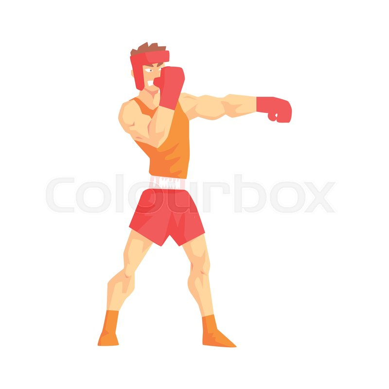 Man In Boxing Gloves And Helmet Box Martial Arts Fighter, Fighting Sports Professional In Traditional Fighting Sportive Clothing. Fun Geometric Cartoon Character Doing Fighting Element In Special Outfit, vector