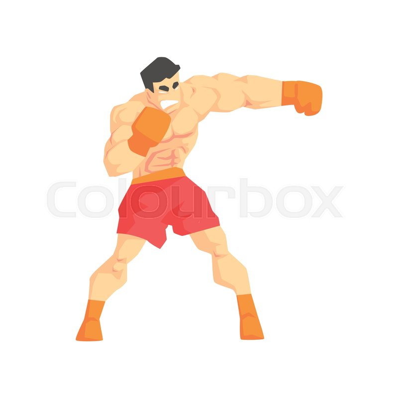 Muscly Man Boxing Martial Arts Fighter, Fighting Sports Professional In Traditional Fighting Sportive Clothing. Fun Geometric Cartoon Character Doing Fighting Element In Special Outfit, vector