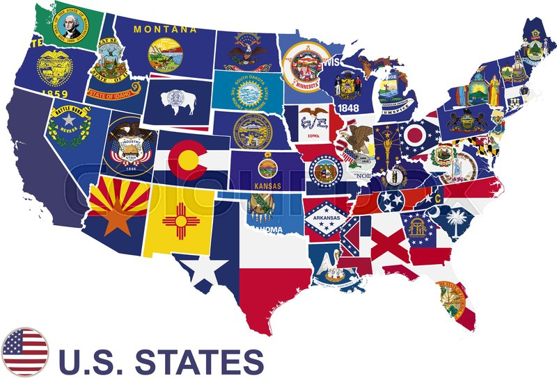 US map with flags of states, on white  | Stock Vector | Colourbox