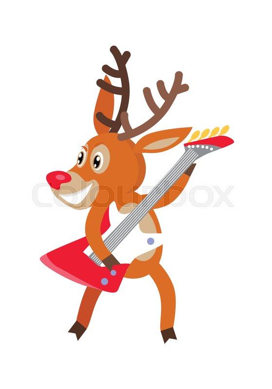 Deer rock musician cartoon Joyful horned reindeer dancing and