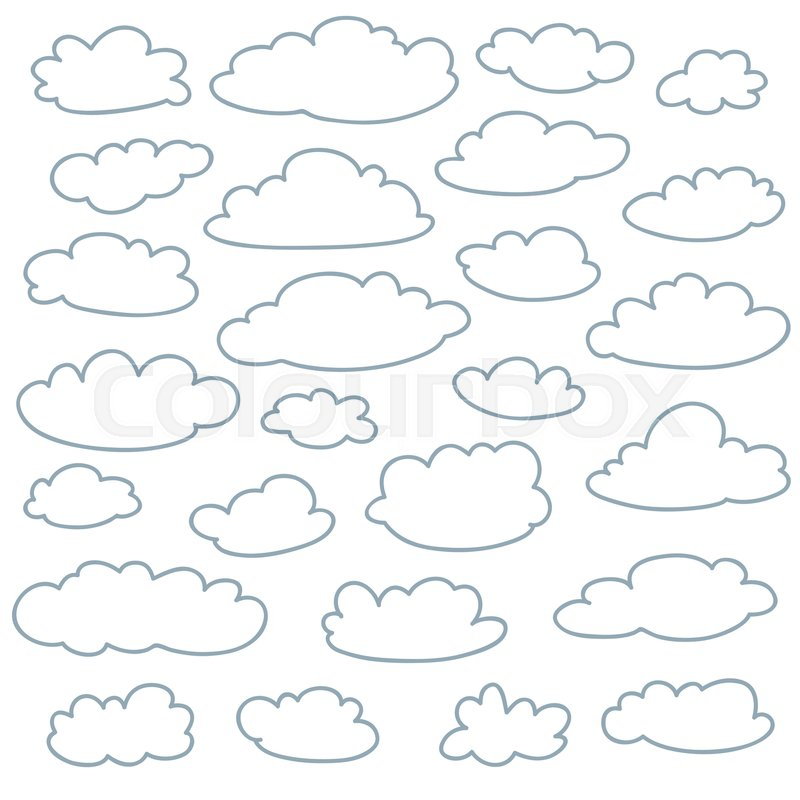Cloud outlines collection. Set of vector cartoon cute ...